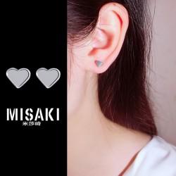 MISAKI首饰 简约迷你小巧光面桃心耳钉耳饰 韩国时尚气质 女 M038-30