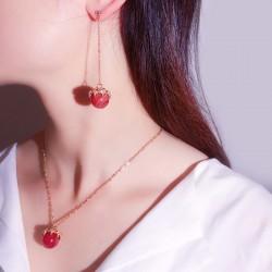 高档天然玛瑙锆石镂空不对称耳钉项链两件套装 精品韩国气质配饰 女 3664-177