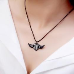 简约满钻桃心翅膀吊坠项链 锁骨链 韩国个性配饰 女 3660-36
