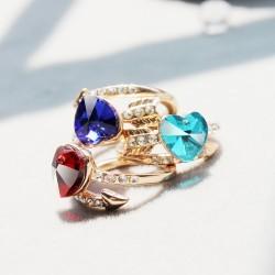 韩国时尚简约开口戒指 高档水晶桃心镶钻手饰 一箭穿心 3655-43