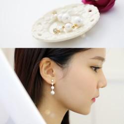 简约夏季新品锆石母贝珍珠耳坠耳钉 韩国创意百搭时尚气质耳饰 女 HG022-80