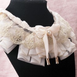 日本杂志款 日系淑女甜美风蕾丝花边布艺假领子珍珠披肩 5199-63