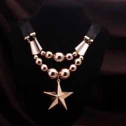 欧美时尚复古英伦风饰品 五角星夸张大吊坠短款毛衣链 5208-46