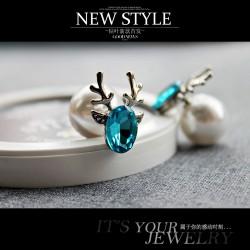 韩国时尚清新奥地利水晶可爱小鹿耳钉 个性气质珍珠球球耳饰 女 427-64