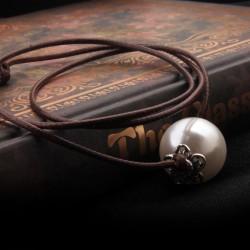 个性时尚双层复古珍珠手链 简约气质可调节皮绳手饰品 女 5496-21