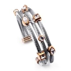 欧美外贸Ebay热销 复古多层条形螺纹水晶开口手镯 女 百搭大牌手饰品 5601-121