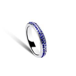 韩国个性简约精致双排炫丽满钻戒指 情侣进口水晶戒 5615-34