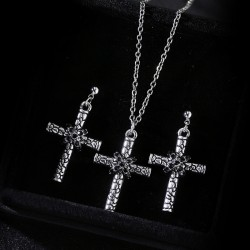 欧美时尚外贸饰品 复古龟裂纹路个性十字架毛衣链 镶钻水晶耳钉耳饰 套装 2750-33