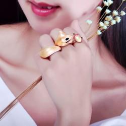 可爱创意设计松鼠三件套组合戒指 日韩原宿时尚精品个性配饰 送女友礼物 5381
