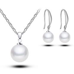 韩国高档贝珠首饰品 正圆经典珍珠耳坠耳环 简约项链套装 气质礼物 5480
