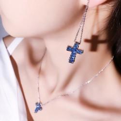 满钻精致水晶十字架吊坠项链 流行个性闪亮别致OL长款耳坠耳钉 套装 女 5332-31