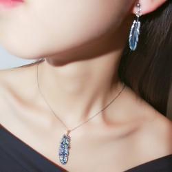韩国新款满钻水晶羽毛吊坠锁骨项链 精致羽毛耳坠耳钉 个性气质套装 女 4723