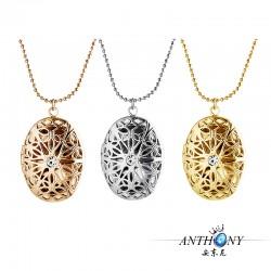 安东尼外贸首饰 镂空花纹椭圆水晶相盒 Floating Locket 项链 A66-43