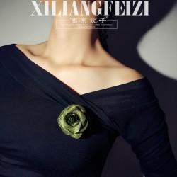 西凉妃子 手工制品复古橄榄绿玫瑰花胸针别针 个性时尚配饰 女X693-15