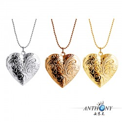 安东尼品牌外贸首饰 时尚创意复古印花桃心相盒项链 可放照片 母亲节礼物 A1015-31