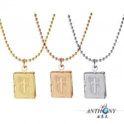 安东尼品牌外贸首饰 圣经十字架方形相盒可放照片 个性项链 A78-33