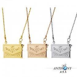 安东尼外贸首饰 复古花纹小包方形相盒可放照片 Floating Locket项链 A64-31