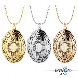 安东尼品牌外贸首饰 时尚优雅花纹椭圆相盒 Floating Locket 项链 A90-49