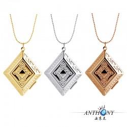 安东尼品牌外贸首饰 欧美创意复古印花方形相盒项链 可内置相片 A1012-35