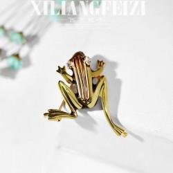 西凉妃子 日韩设计师时尚复古青蛙胸针别针 镂空个性饰品 男女通用 X698-43