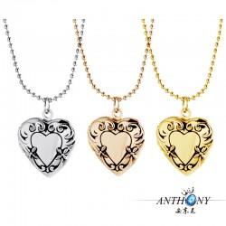 安东尼品牌外贸首饰 复古优雅印花心形相盒可放照片 项链 A87-39