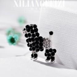 西凉妃子 欧美时尚个性贵宾犬宠物胸针别针 满钻珠子个性配饰 女 X687-40