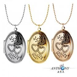 安东尼品牌外贸首饰 欧美时尚简约印双心椭圆相盒吊坠项链 可内置相片 A1013-35