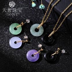 天奢珠宝 铜饰品首饰套装 民族风天然玉石 耳项链耳环套装 T009
