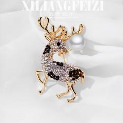 西凉妃子 百搭动物胸针 满钻梅花鹿母贝珍珠别针 圣诞节礼物 女 X707-89