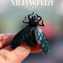 西凉妃子 个性黑色蜜蜂胸针 西装外套别针 领针彩绘高档胸花珠宝礼品 X896-80