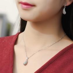 欧美时尚饰品 精致满钻水滴耳环耳坠 水滴项链套装  简约个性配饰女 2611
