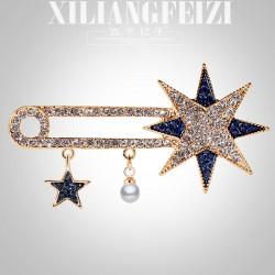 西凉妃子 时尚新款满钻星星款胸针 精美服装胸花配饰品别针佩戴 X943-93