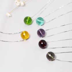 千族银 银饰品牌 首ins纯银水晶项链 水珠圆形吊坠锁骨链 Q207-178