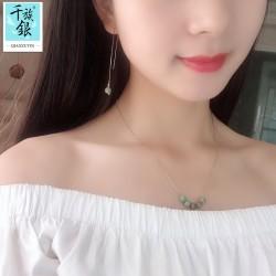 千族银 银饰品牌 珠宝首时尚气质S925纯银松石项链锁骨链耳线耳环配Q212-130