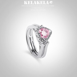 KELAKELA 韩版简约个性 镶锆石可翻转双面佩戴 爱心戒指创意气质首饰 抖音网红同款 K337-80
