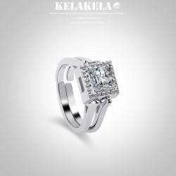 KELAKELA 韩版创意时尚新品首饰 抖音同款 镶锆石可翻转双面戒指 奢华手饰 K338-80