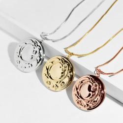安东尼外贸品牌首饰 欧美爆款印花圆形相盒 记忆项链 可放照片  A367-55