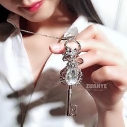 韩版饰品 时尚锆石皇冠钥匙十字架奥地利水晶毛衣链-天使之恋 2657-53