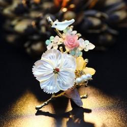 Eva颐娲高端贝壳民族风配饰装饰品胸针毛衣胸花扣女6592-248