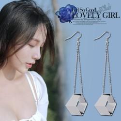 新款立体方形不规则几何耳环 简约韩版气质长款耳钉 8125-50