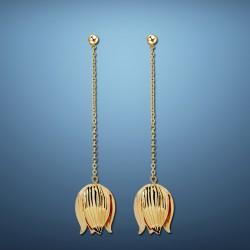 新款气质百搭郁金香花朵耳环 个性时尚长款耳钉耳饰品 送妈妈 8126-43