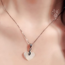 千族银品牌首饰 S925银链桃心形项链 时尚气质天然母贝壳锁骨链 Q235-156