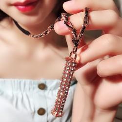 个性毛衣链直销 高档品质爆款满钻圆柱长款项链-定爱神针 2987-80