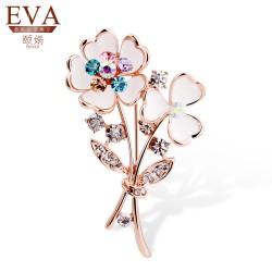 EVA颐娲 高端胸针 时尚韩版水晶花束胸针精致饰品 6182