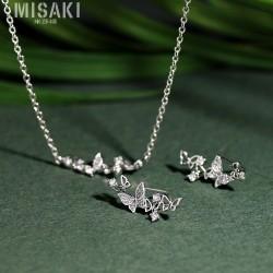 韩版时尚S925纯银针蝴蝶耳钉百搭时尚新款项链锁骨链 气质首饰套装 HG3023
