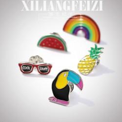 西凉妃子 卡通搭扮彩色胸针五件套 彩虹西瓜啄木鸟菠萝眼镜开衫牛仔徽章 X1072-99