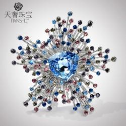 天奢TIANSHE  欧美时尚施家正品流苏胸针 新款水晶百搭胸花徽章饰品 T023-230