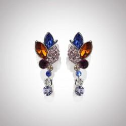 韩版百搭时尚水晶花朵耳钉长款耳坠气质简约网红耳饰 8140-45