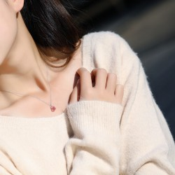 千族银 银饰品牌  气质S925纯银锆石项链 简约百搭水滴形锁骨链 Q254-120