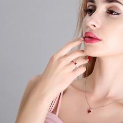 千族银 银饰品牌  S925纯银心形项链戒指套装 时尚气质锆石爱心锁骨链 Q255